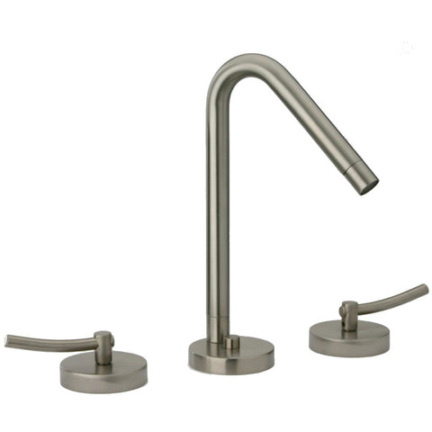 LaToscana Morellino widespread faucet with lever handles and a rotating spout in Brushed Nickel