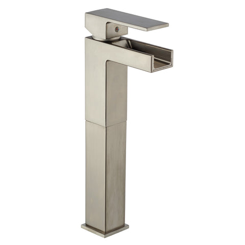 LaToscana Dax waterfall single handle vessel filler in Brushed Nickel