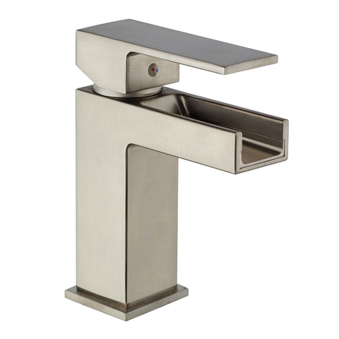 LaToscana Dax waterfall single handle lavatory faucet in Brushed Nickel