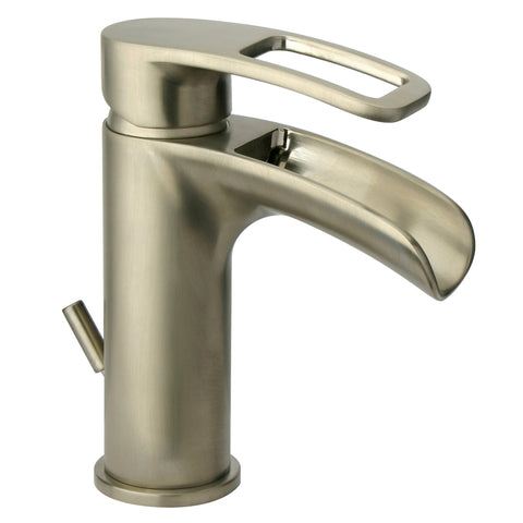 LaToscana Ovo small waterfall single handle lavatory faucet in Brushed Nickel
