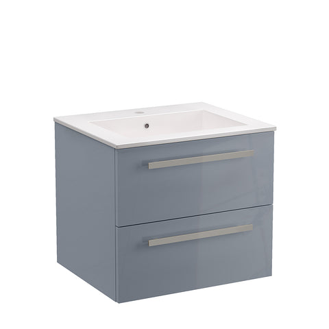 "LaToscana Ambra 24"" Wall Mount Single Modern Bathroom Vanity with Two Soft Closing Drawers in Grey"