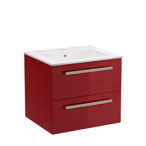 "LaToscana Ambra 24"" Wall Mount Single Modern Bathroom Vanity with Two Soft Closing Drawers in Red"