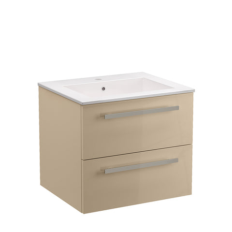 "LaToscana Ambra 24"" Wall Mount Single Modern Bathroom Vanity with Two Soft Closing Drawers in Sand"