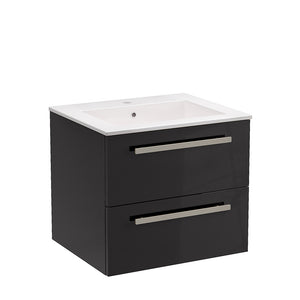 "LaToscana Ambra 24"" Wall Mount Single Modern Bathroom Vanity with Two Soft Closing Drawers in Slate Grey"