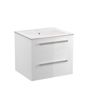 "LaToscana Ambra 24"" Wall Mount Single Modern Bathroom Vanity with Two Soft Closing Drawers in White"