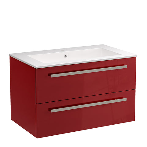 "LaToscana Ambra 34"" Wall Mount Single Modern Bathroom Vanity with Two Soft Closing Drawers in Red"