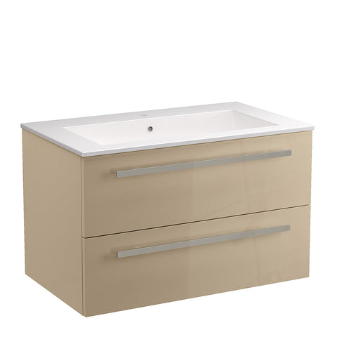 "LaToscana Ambra 34"" Wall Mount Single Modern Bathroom Vanity with Two Soft Closing Drawers in Sand"