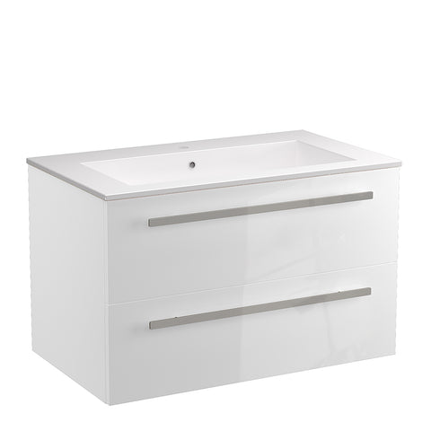 "LaToscana Ambra 34"" Wall Mount Single Modern Bathroom Vanity with Two Soft Closing Drawers in White"
