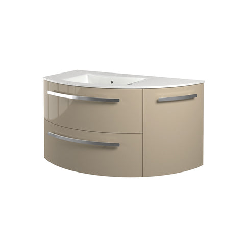 "LaToscana Ambra 38"" Wall Mount Single Modern Corner Bathroom Vanity with Three Soft Closing Doors in Sand"