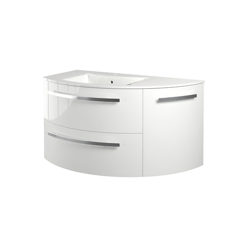 "LaToscana Ambra 38"" Wall Mount Single Modern Corner Bathroom Vanity with Three Soft Closing Doors in White"