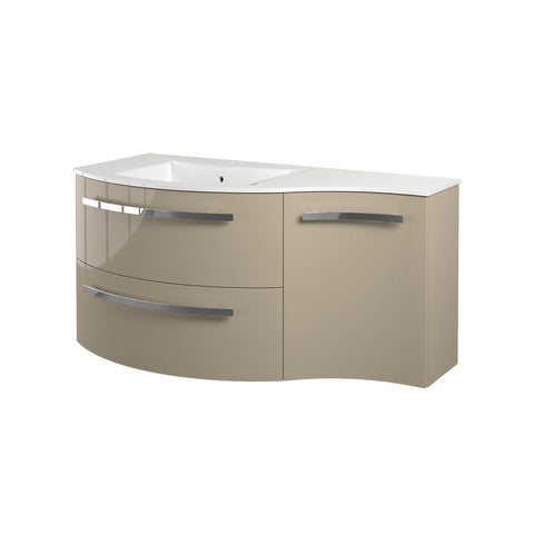"LaToscana Ambra 43"" Wall Mount Single Modern Bathroom Vanity with Two Soft Closing Drawers and Right Side Cabinet in Sand"
