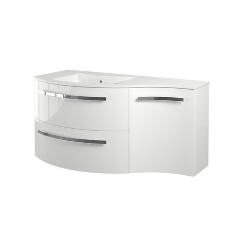 "LaToscana Ambra 43"" Wall Mount Single Modern Bathroom Vanity with Two Soft Closing Drawers and Right Side Cabinet in White"