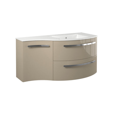 "LaToscana Ambra 43"" Wall Mount Single Modern Bathroom Vanity with Two Soft Closing Drawers and Left Side Cabinet in Sand"