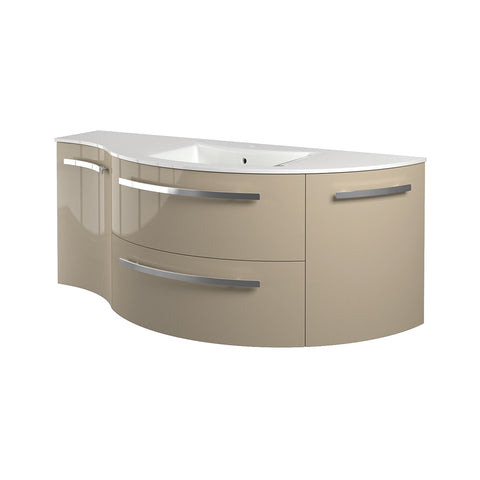 "LaToscana Ambra 52"" Wall Mount Single Modern Bathroom Vanity with Four Soft Closing Doors in Sand"