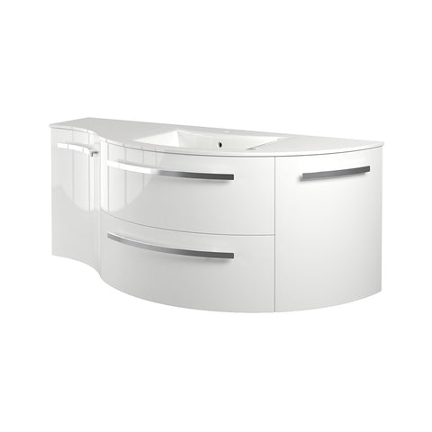 "LaToscana Ambra 52"" Wall Mount Single Modern Bathroom Vanity with Four Soft Closing Doors in White"