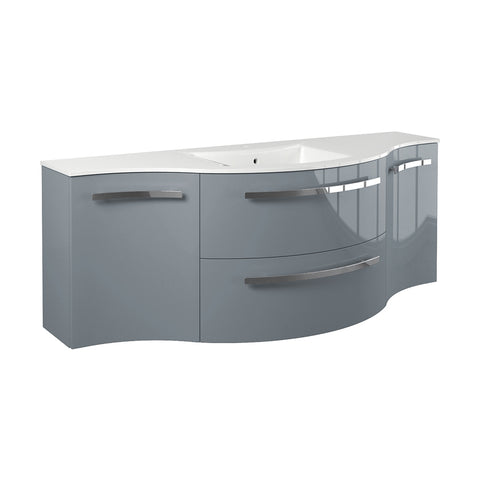 "Image of LaToscana Ambra 57"" Wall Mount Single Modern Bathroom Vanity in Grey"