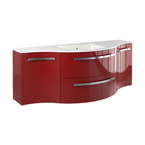 "LaToscana Ambra 57"" Wall Mount Single Modern Bathroom Vanity in Red"