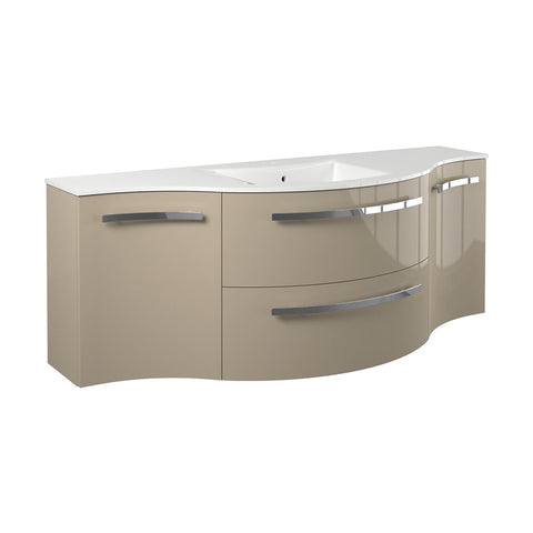 "LaToscana Ambra 57"" Wall Mount Single Modern Bathroom Vanity in Sand"