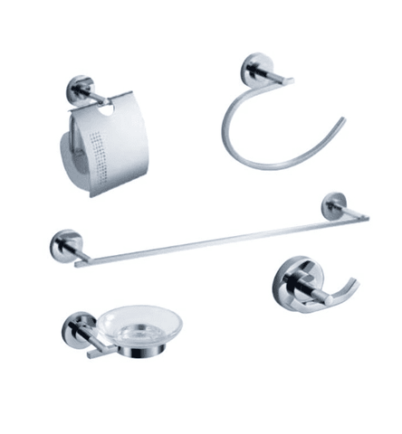 Fresca Alzato 5-Piece Bathroom Accessory Set - Chrome - Bathroom Vanity Portal