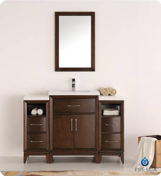 "Fresca Cambridge 48"" Antique Coffee Traditional Bathroom Vanity with Mirror - Bathroom Vanity Portal"