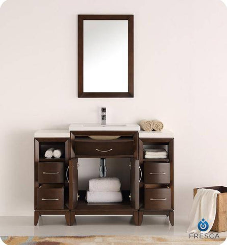 "Image of Fresca Cambridge 48"" Antique Coffee Traditional Bathroom Vanity with Mirror - Bathroom Vanity Portal"