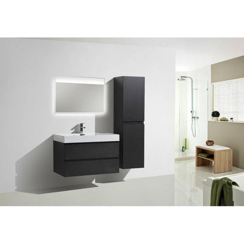 "Moreno MOF 36"" Black Wall Mounted Modern Bathroom Vanity - Bathroom Vanity Portal"