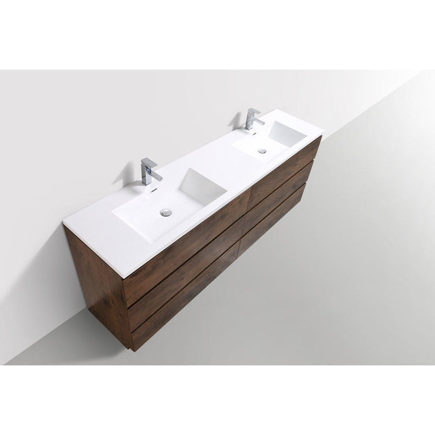 Moreno Bath Angeles 83.5 Inch Modern Brown Rosewood Vanity with Double Reinforced Acrylic Sinks