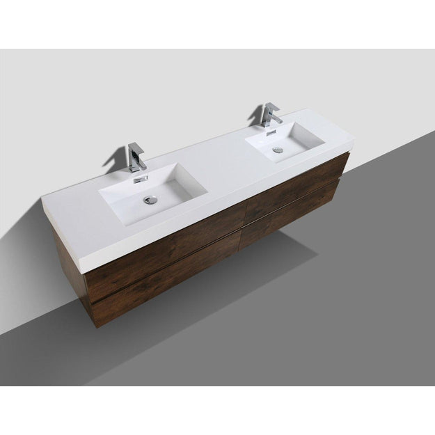 Moreno Bath Fortune 78.75 Inch Brown Wall Mounted Modern Vanity with Double Acrylic Sinks