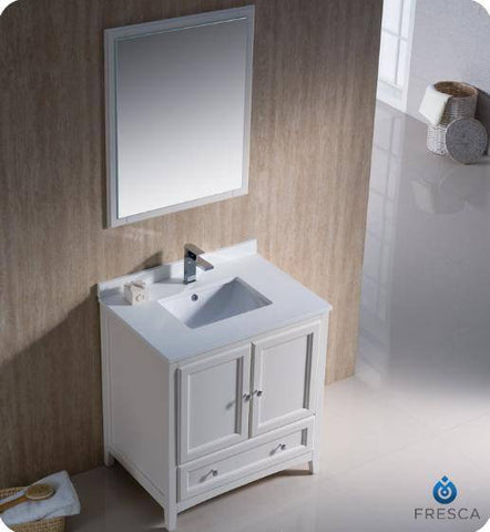 "Image of Fresca Oxford 30"" Antique White Traditional Bathroom Vanity - Bathroom Vanity Portal"