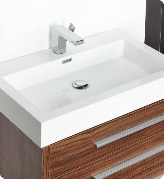"Fresca Livello 30"" Walnut Modern Bathroom Vanity with Medicine Cabinet - Bathroom Vanity Portal"