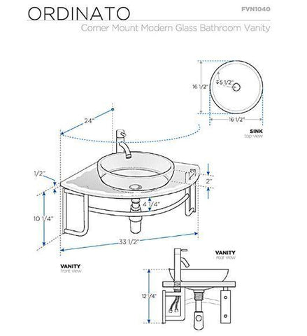 "Image of Fresca Ordinato 24"" Corner Mount Modern Glass Bathroom Vanity"