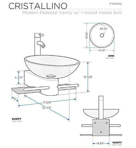 "Image of Fresca Cristallino 18"" Modern Glass Bathroom Vanity w/ Frosted Vessel Sink"