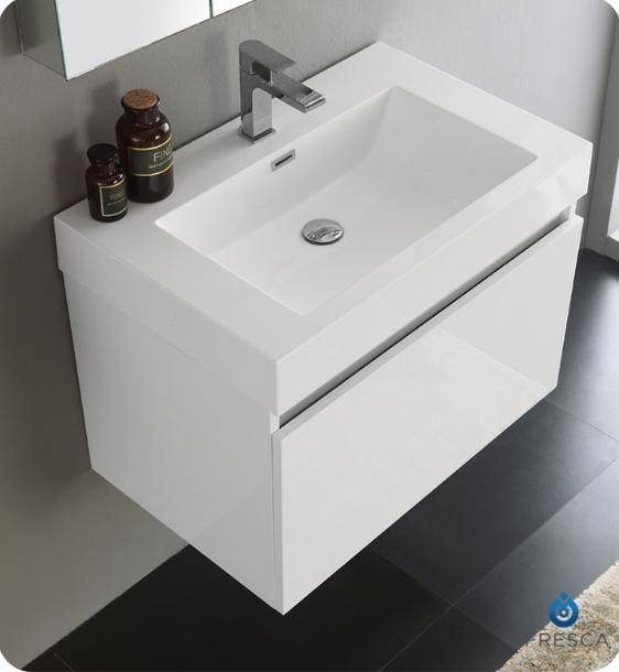 "Fresca Mezzo 30"" White Wall Hung Modern Bathroom Vanity with Medicine Cabinet - Bathroom Vanity Portal"