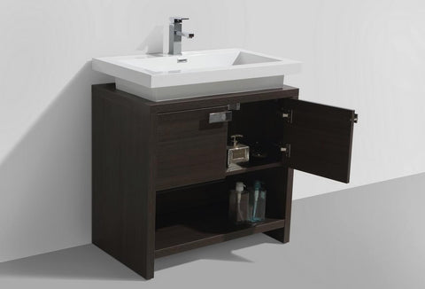Image of Moreno Bath Levi 32″ Dark Gray Oak Modern Single Vanity With Cubby Hole