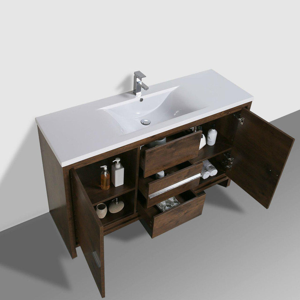 Moreno Bath Dolce 58.75 Inch Brown Rosewood Modern Vanity with Reinforced Acrylic Sink