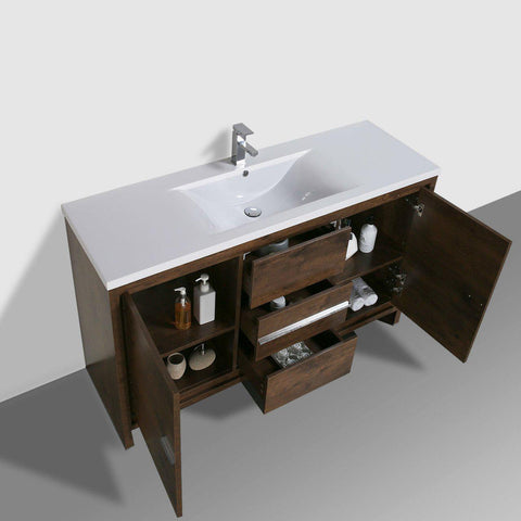 Image of Moreno Bath Dolce 58.75 Inch Brown Rosewood Modern Vanity with Reinforced Acrylic Sink