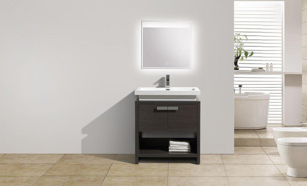 Moreno Bath Levi 32″ Dark Gray Oak Modern Single Vanity With Cubby Hole