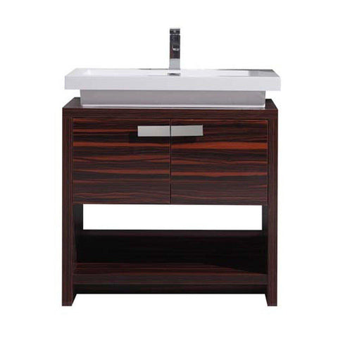 Moreno Bath Levi 32″ High Gloss Rose Walnut Modern Single Vanity With Cubby Hole