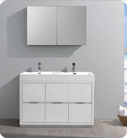 "Image of Fresca Valencia 48"" Glossy White Free Standing Double Sink Modern Bathroom Vanity with Medicine Cabinet - Bathroom Vanity Portal"