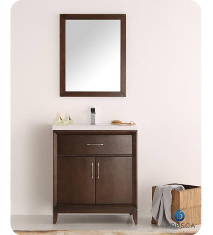 "Image of Fresca Cambridge 30"" Antique Coffee Traditional Bathroom Vanity with Mirror - Bathroom Vanity Portal"