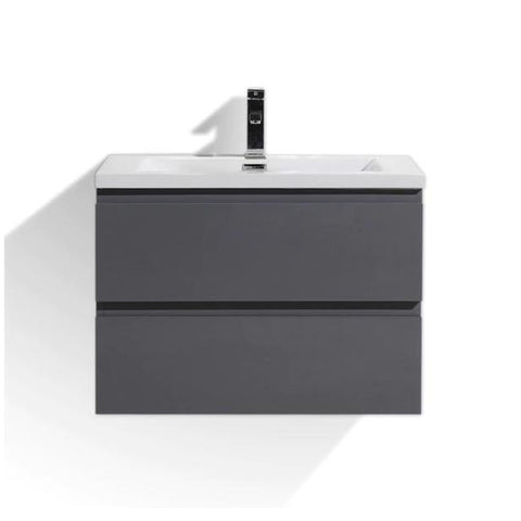"Moreno Mob 30"" High Gloss Grey Wall Mounted Modern Bathroom Vanity - Bathroom Vanity Portal"