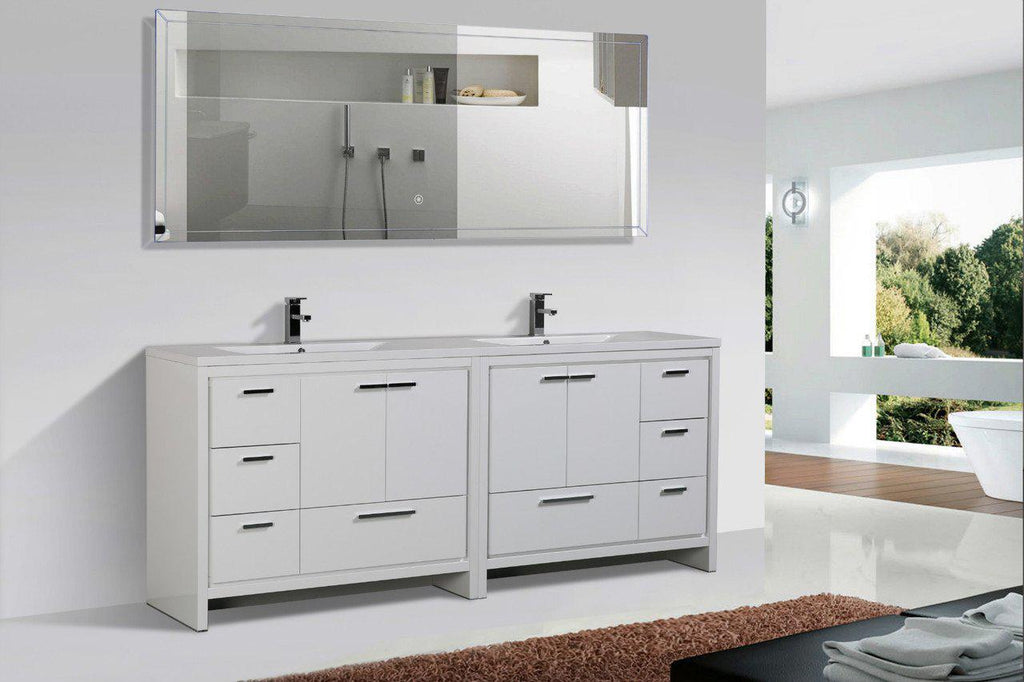 Moreno Bath Dolce 83.5 Inch High Gloss White Modern Vanity with Reinforced Double Acrylic Sinks