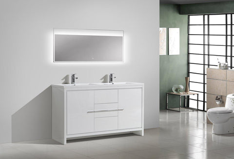 Image of Moreno Bath Dolce 58.75 Inch High Gloss White Modern Vanity with Reinforced Double Acrylic Sinks