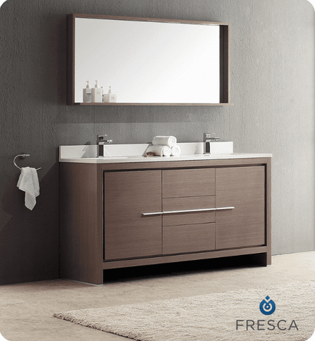 "Image of Fresca Allier 60"" Gray Oak Modern Double Sink Bathroom Vanity w/ Mirror"