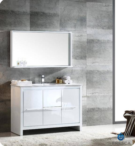 "Fresca Allier 48"" White Modern Bathroom Vanity w/ Mirror"