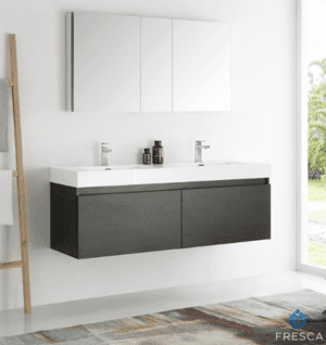 Fresca Mezzo 59 Inch Black Wall Hung Double Sink Modern Bathroom Vanity with Medicine Cabinet