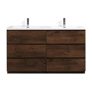 Moreno Bath Angeles 58.75 Inch Modern Brown Rosewood Vanity with Double Acrylic Sinks