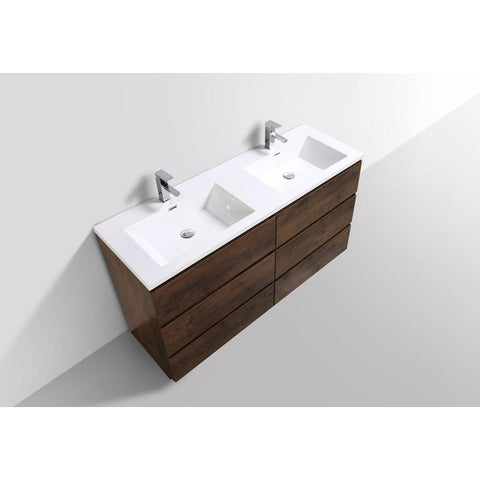 Image of Moreno Bath Angeles 58.75 Inch Modern Brown Rosewood Vanity with Double Acrylic Sinks
