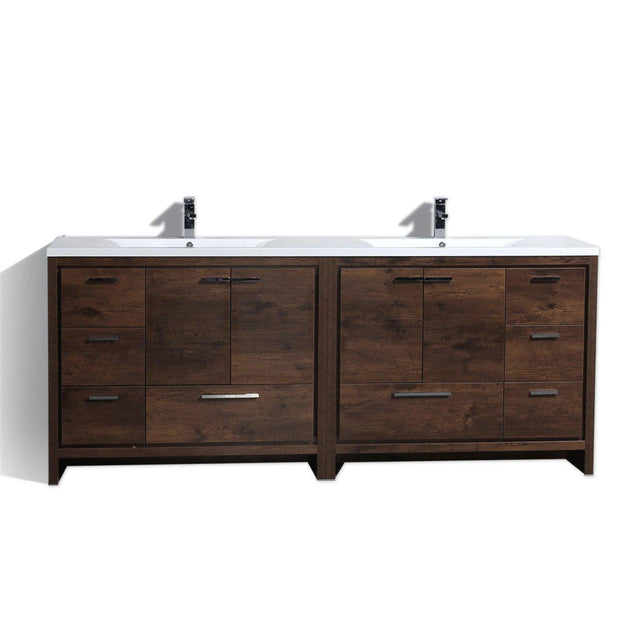 Moreno Bath Dolce 83.5 Inch Brown Modern Vanity with Reinforced Double Acrylic Sinks
