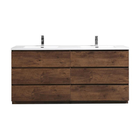 Moreno Bath Angeles 70.5 Inch Modern Brown Rosewood Vanity with Double Reinforced Acrylic Sinks